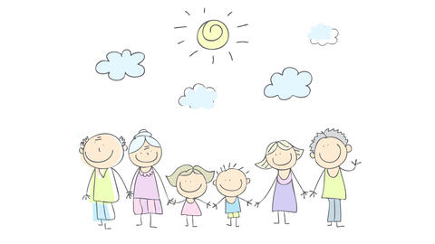 lifestyle scene of three generations family with elderly grandparents kids and young parents hanging Animation
