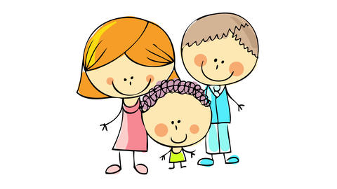 cheerful parenthood scene with happy young parents holding the hands of a lovely kid enjoying a Animation