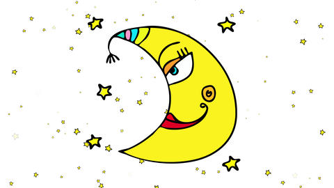 clipart of half shaped moon and girly features smiling wearing red lipstick floating peacefully on Animation