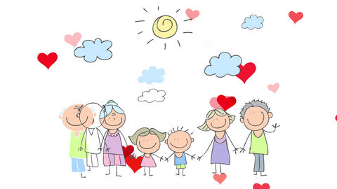 red hearts popping up on the background of a family portrait with three generations holding hands Animation