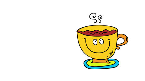 tasty colorful mug cake with rustic design and sweet sugary and hot beverage looking delicious put Animation
