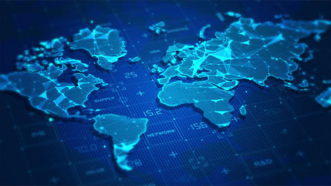 World Map Digital Business Animation
