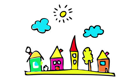 nice neighbourhood full of big colorful houses suggesting a person is looking to relocate doing an Animation