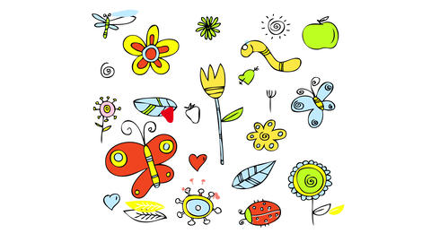 sketchy flower power pattern wallpaper with many little items of bright reddish and yellow color Animation