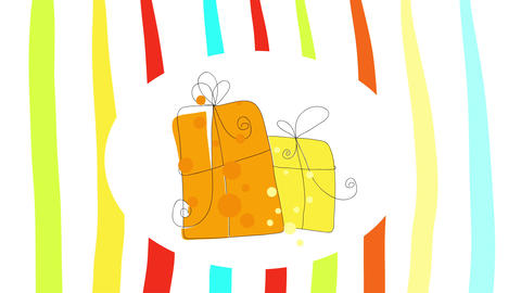 receiving and giving presents holiday minimalism concept with gift boxes piled together over round Animation