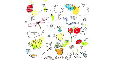 flower garden pattern with many small animals and insects of different forms and colors decorated Animation