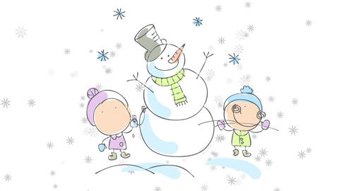 joyful children playing outdoors in the snow building a perfect snowman wearing gloves and warm Animation