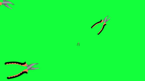 Working pliers tools elements animation on green screen chroma key Animation