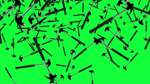 Working hammer tools elements animation on green screen chroma key Animation