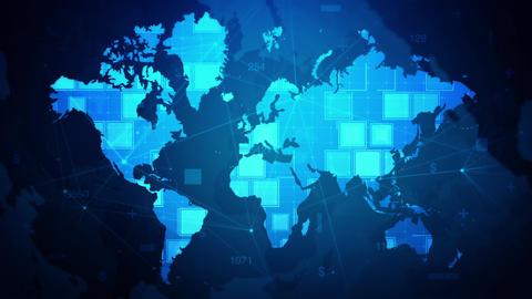 Rectangle Digital World Map Cyber Animate Background Animation