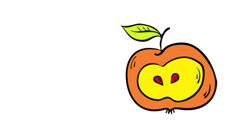 drawing of a ripe apple becoming brown after being bitten and left to rotten suggesting someone Animation