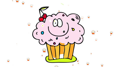 creamy cupcake with happy face and colorful candy decoration with hundreds floating behind it Animation