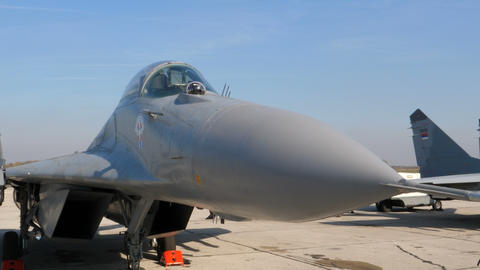 Close View of Socialist Russia USSR era Combat Fighter Jet Serbia MiG 29 Fulcrum Live Action