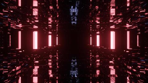 dark neon reflection 3d rendering sci-fi tunnel dj loop in 4k uhd 60fps - Animation