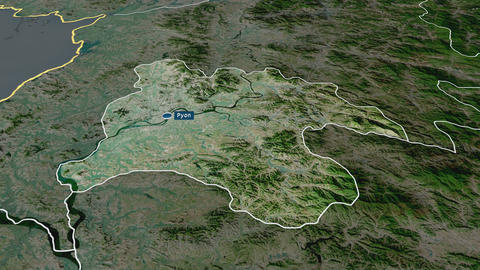Pyongyang - special city of North-Korea. Satellite Animation