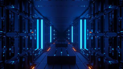dark blue neon 3d rendering sci-fi tunnel vfx cgi animation dj loop in 4k uhd Animation