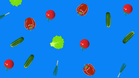 Vegetables elements animation chroma key background removable, seamless loop Animation