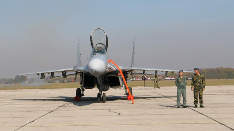 Military Fighter Jet Pilot and Specialist in front of a Serbian Air Force MiG 29 Live Action