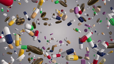 Flying through Assorted Colorful Pills with Alpha Animation