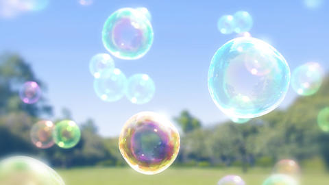 ゆっくり漂うシャボン玉のイメージ-草原背景/上昇 CG動画