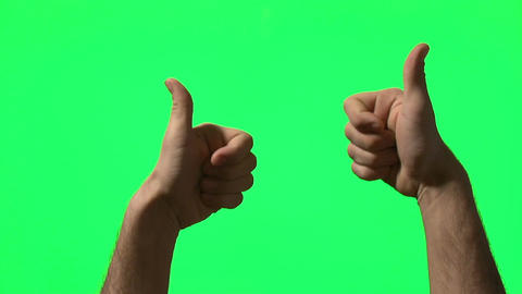 Male hand gestures on green screen: pointing, clapping, thumbs up, countdown fro Footage