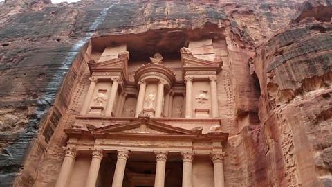 Facade of Treasury in Petra, Jordan Footage