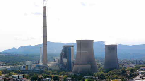 Smoke Pollution From Power Plant Smokestacks Footage