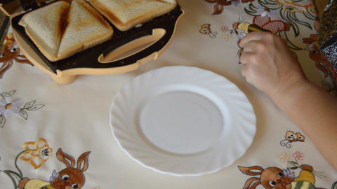 Sandwich Out Of Sandwich Maker On Plate Live Action