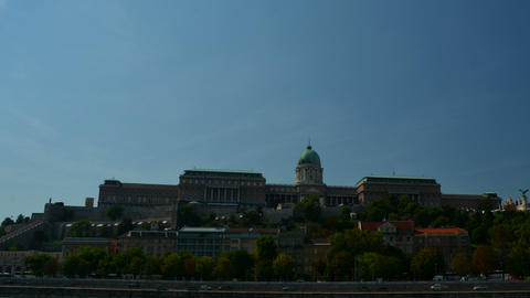 Hyper lapse of the Royal Palace in Budapest. Buda Castle Live Action