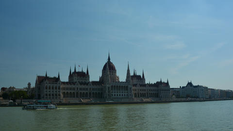 Hyper lapse of the Hungarian Parliament in Budapest Live Action