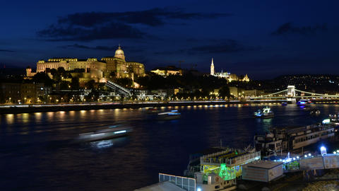 Night time lapse of the Royal Palace and Danube river in Budapest. Buda Castle Footage