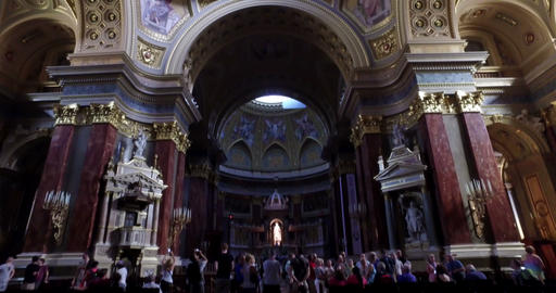 Budapest, Hungary. Circa August 2016. Camera movement inside the St. Stephen bas Footage