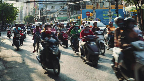 Chaotic Traffic Scene On A Road In Vietnam, Infrastructure Transportation Live Action