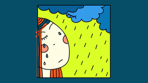 beautiful portrait of sad young woman crying under a rain storm suggesting she is suffering from Animation