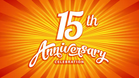 15th celebrating event heading with sunburst behind classical typing suggesting its an anticipated Animation