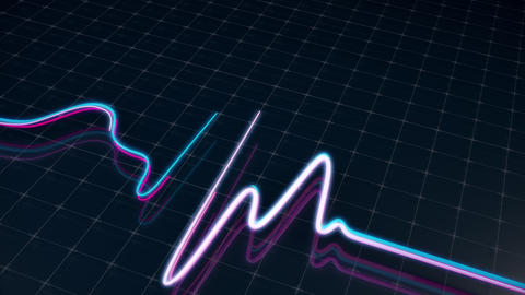 Neon heartbeat on medical screen with a grid Animation