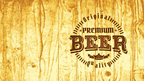 premium beer brewery nightclub advert with retro component on burned wood scene for industrial Animation