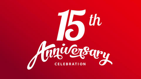 15 years anniversary celebration invitation card for best employee on business office with cursive Animation