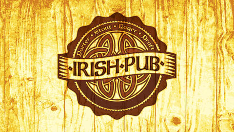 traditional irish pub offering great tasty craft beer with celtic style icon scorched on wood for Animation