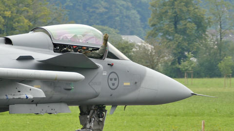 Saab JAS 39 Gripen taxing on ariport runway Ultra HD 4K Video Live Action