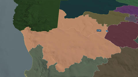 Northern Cape - province of South-Africa. Administrative Animation