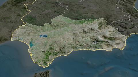 Andalucía - autonomous community of Spain. Satellite Animation