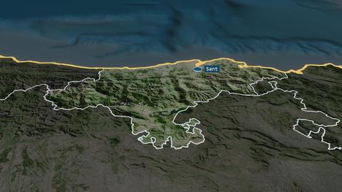 Cantabria - autonomous community of Spain. Satellite Animation