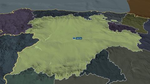 Castilla y León - autonomous community of Spain. Administrative Animation