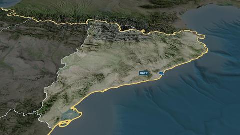 Cataluña - autonomous community of Spain. Satellite Animation