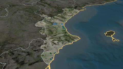 Comunidad Valenciana - autonomous community of Spain. Satellite Animation