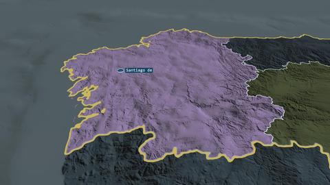 Galicia - autonomous community of Spain. Administrative Animation