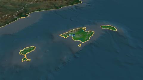 Islas Baleares - autonomous community of Spain. Physical Animation