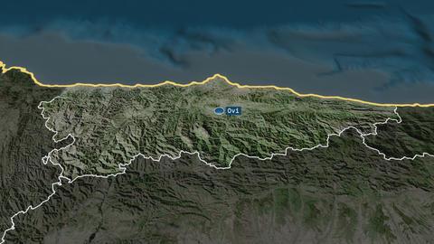Principado de Asturias - autonomous community of Spain. Satellite Animation