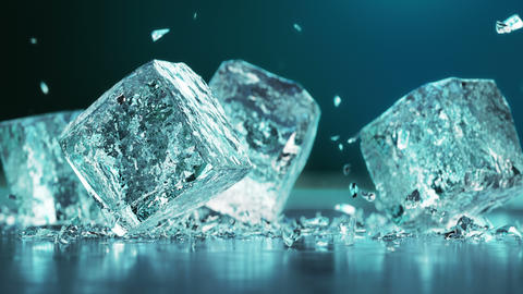 Falling ice cubes in 4K Super Slow motion Acción en vivo
